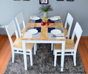 bộ bàn ăn 4 ghế 519t trắng