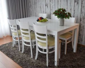 bàn ăn 6 ghế trắng