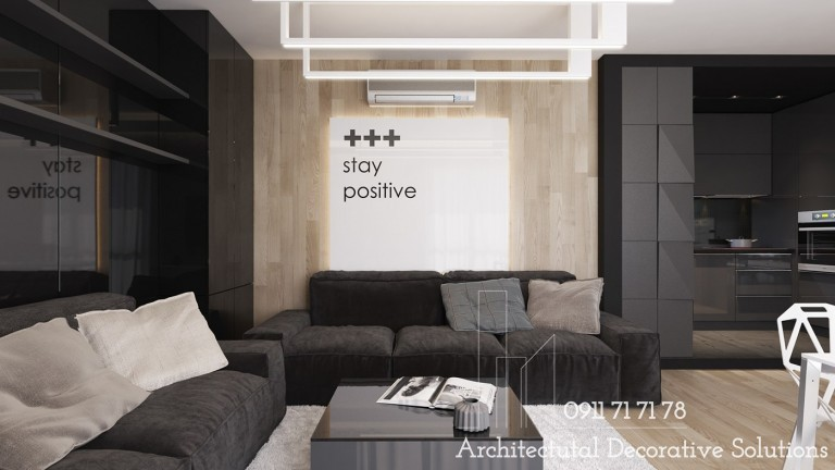 Phòng khách đẳng cấp với nội thất đen huyền bí